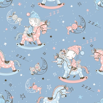 Seamless pattern with cute children sleeping on toy unicorns.