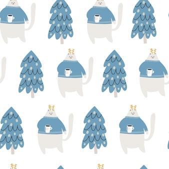 かわいいクリスマス猫とのシームレスなパターン。ラッピング、テキスタイルの手描きベクトルイラスト