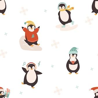 Бесшовный фон с милыми рождественскими пингвинами
