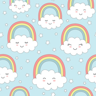 Seamless pattern with cute clouds, rainbow and stars. nursery design for kids textile, wrapping paper, wallpaper.