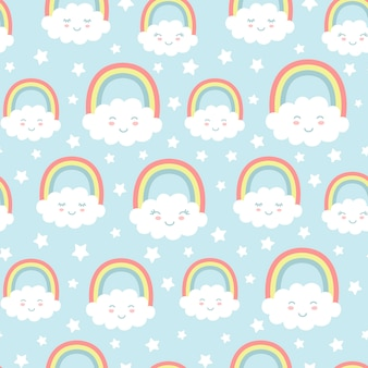 Seamless pattern with cute clouds, rainbow and stars.