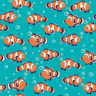 Бесшовный фон с милой рыбой-клоуном. графика.