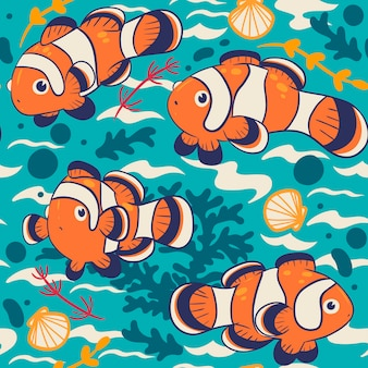 Seamless pattern with cute clown fish.