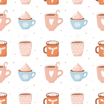 Seamless pattern with cute cocoa cups and marshmallows.