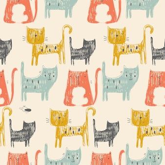 かわいい色の猫とのシームレスなパターン手描きベクトルイラスト