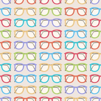 Seamless pattern with cute colored glasses