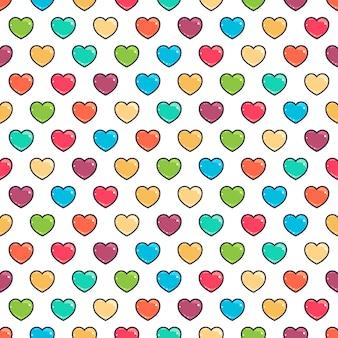 Бесшовный фон с милыми цветными сердцами