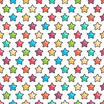 Seamless pattern with cute colored stars on white