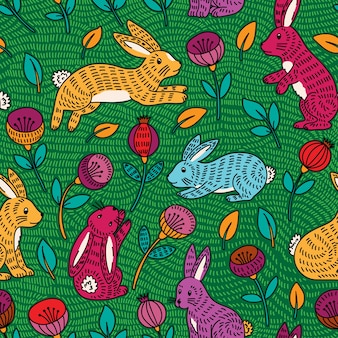 Seamless pattern with cute colorful bunny and flowers