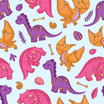 Seamless pattern with cute colorful dinosaurs