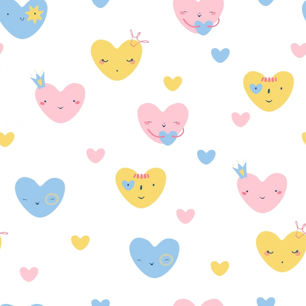 Seamless pattern with cute colorful hearts in a flat style of pink, blue and yellow on a white background.