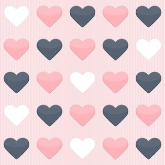 Бесшовный фон с милыми красочными сердечками на розовом. векторная иллюстрация