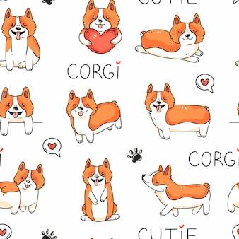 귀여운 corgi 강아지와 만화 낙서 스타일의 그림 배경에서 글자와 원활한 패턴