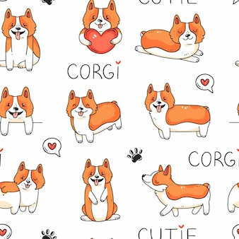 Seamless pattern with cute corgi dogs and lettering in cartoon doodle style illustration background