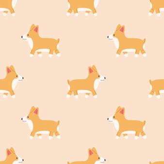 Seamless pattern with cute corgi in flat style