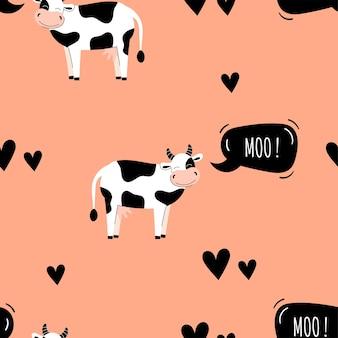 귀여운 암소와 함께 완벽 한 패턴입니다. 농장 동물과 배경입니다. 벽지, 포장. 평면 벡터 일러스트 레이 션