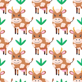 Seamless pattern with cute cows character