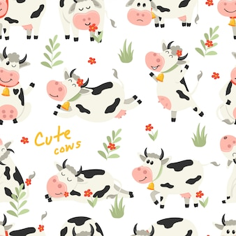 Seamless pattern with cute cows