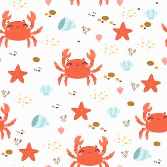 Seamless pattern with cute crab and sea stones