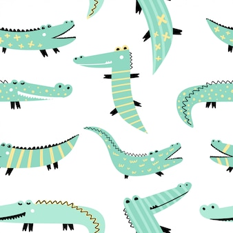 Seamless pattern with cute crocodiles.