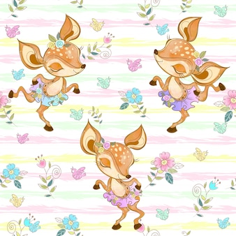 Seamless pattern with cute dancing fawns. ballerinas.