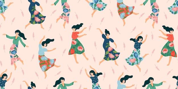 춤추는 여자와 귀여운 완벽 한 패턴입니다. 국제 여성의 날 및 기타 용도에 대한 개념.