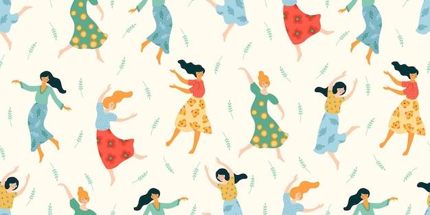 귀여운 춤 여자와 완벽 한 패턴입니다.