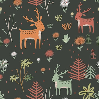 Seamless pattern with cute dear on floral background can be used for textile wallpaper or print