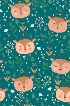 Seamless pattern with cute deer and flowers.