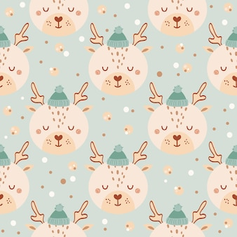 Seamless pattern with cute deer in hat on blue backdrop. background with wild animals in flat style. illustration for kids. design for wallpaper, fabric, textiles, wrapping paper. vector