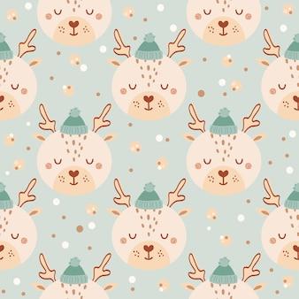 파란색 배경에 모자에 귀여운 사슴과 함께 완벽 한 패턴입니다. 평면 스타일에 야생 동물과 배경입니다. 아이들을 위한 삽화. 벽지, 직물, 직물, 포장지를 위한 디자인. 벡터