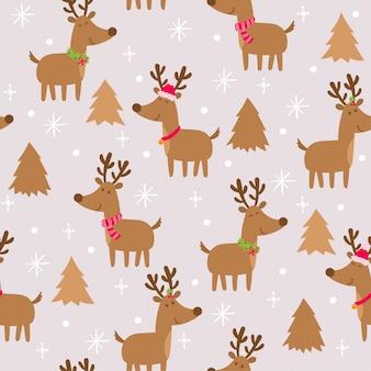 Seamless pattern with cute deers