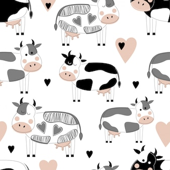 Seamless pattern with cute different cows.