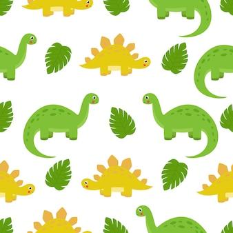Бесшовный фон с милым динозавром, бронтозавром и стегозавром