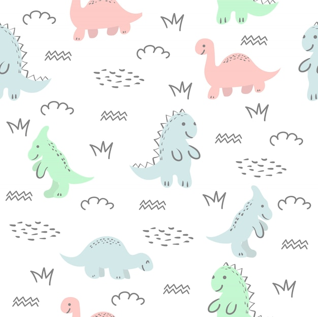 Seamless pattern with cute dinosaur and friends