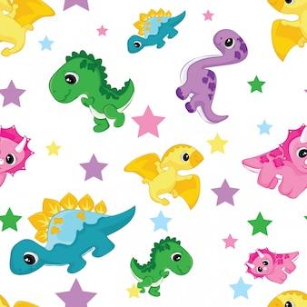 かわいい恐竜キャラクターと星のシームレスパターン