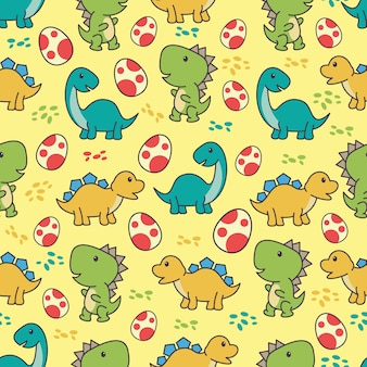 Seamless pattern with cute dinosaurs character