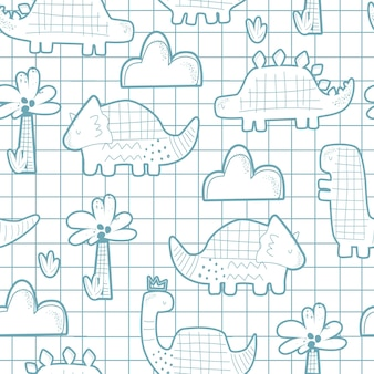 Seamless pattern with cute dinosaurs on a checkered background vector illustration