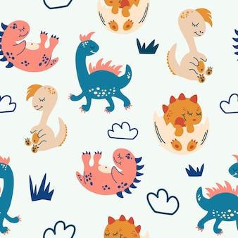 かわいい恐竜とのシームレスなパターン。ファブリック、ラッピング、テキスタイル、壁紙、アパレルのクリエイティブな子供っぽいテクスチャ。かわいい赤ちゃんの背景。フラット漫画スタイルのベクトルイラスト。