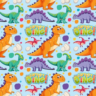 Seamless pattern with cute dinosaurs and font on blue background