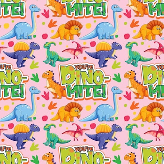 Seamless pattern with cute dinosaurs and font on pink background