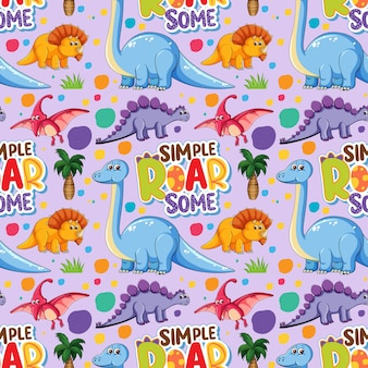 Seamless pattern with cute dinosaurs and font on purple background