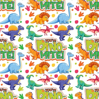 Seamless pattern with cute dinosaurs and font on white background