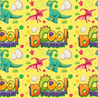 Seamless pattern with cute dinosaurs and font on yellow background