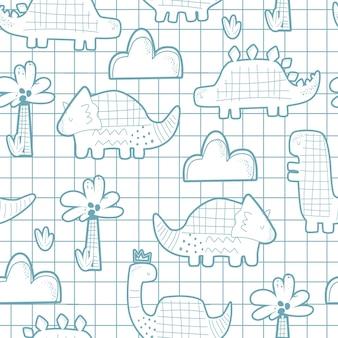 Бесшовный фон с милыми динозаврами на клетчатом фоне векторные иллюстрации