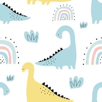 白い背景の上のかわいい恐竜とのシームレスなパターン印刷用ベクトル図