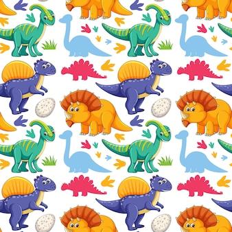 白い背景の上のかわいい恐竜とのシームレスなパターン