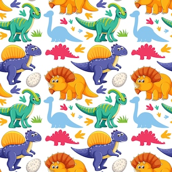 Seamless pattern with cute dinosaurs on white background