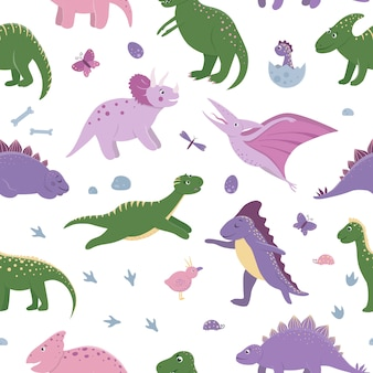 Seamless pattern with cute dinosaurs with clouds, eggs, bones, birds for children. dino flat cartoon characters background. cute prehistoric reptiles illustration.