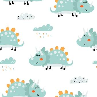 Бесшовный фон с милыми динозаврами